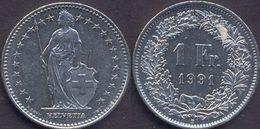 Switzerland Swiss 1 Franc 1991 VF - Suisse