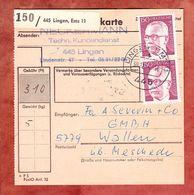 Paketkartenteil, MiF Heinemann, Lingen Nach Wallen 1974 (61284) - BRD