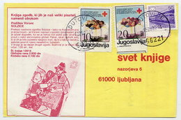 YUGOSLAVIA 1987 Commercial Postcard With Red Cross Week 10 And 20d Tax.  Michel ZZM128, 134 - Charity Issues