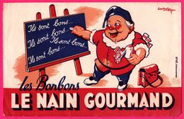 """BUVARD Illustré - Les Bonbons """" Le Nain Gourmand """" - Tableau - Craie - EFGE - Sucreries & Gâteaux"""