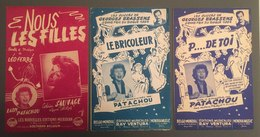 3 Partitions Léo Ferré Patachou Brassens Catherine Sauvage - Song Books