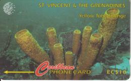 ST. VINCENT & THE GRENADINES(GPT) - Yellow Tube Sponge, CN : 52CSVF, Tirage 9900, Used - Saint-Vincent-et-les-Grenadines