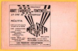 BUVARD Illustré - MELITTA - Abbaye S. Wandrille De Fontenelle (76) - Cire - Crème Tela - Produits Monastiques - Shoes