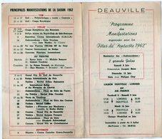 VP13.564 - DEAUVILLE 1962 - Programme Des Manifestations Organisées Pour Les ¨ Fêtes De Pentecôte 1962 ¨ - Programs
