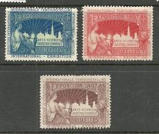 BELGIUM 1897 Vignettes International Exibition Arts-Sciences Industrie Commerce Bruxelles 1897 (*) - Commemorative Labels