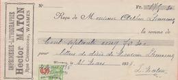1935: Reçu émis Par ## Imprimerie-Lithographie HECTOR MATON, Rue Clémenceau,  WASMES ## à ## Mr. Arthur LHEUREUX, E/V ## - Banque & Assurance