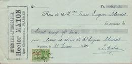 1940: Reçu émis Par ##Imprimerie-Lithographie HECTOR MATON, Rue Clémenceau, WASMES## à ##Mme. Vve. Eugène BLONDEL, E/V## - Banque & Assurance