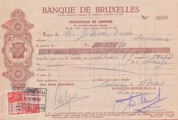 1948: Reçu émis Par ## Banque De Bruxelles, Succursale De Louvain ##  à ## Mr. GILSON-DRABS, LOUVAIN ## - Banque & Assurance