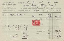 1928: Compte De J. RIGOLET, Agent De Change Agréé, Succursale De Wasmes ##   à ## Mr. BROUEZ, E/V ## - Banque & Assurance