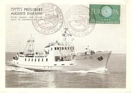 CP 85 France 1961 - Ile D'yeu - Paquebot Cotier Président Auguste Durand - Cachet Voyage Inaugural - Marcophilie (Lettres)