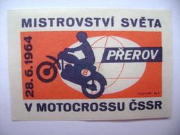 Czechoslovakia Matchbox Label 1964 - World Championships In Motorcycle Racing, Motocross PREROV - Boites D'allumettes - Etiquettes