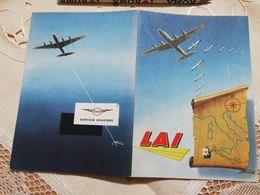 2738) LAI LINEE AEREE ITALIANE Aviazione Opuscolo Cartina Voli Esso - Manuali