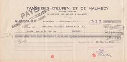 1951: Quittance émise Par ## Tanneries D'Eupen Et De Malmedy, Av. Des Alliés, 2,  MALMEDY ## à ## Mrs. VERCAMERT Frères - Banque & Assurance