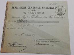 2744) Esposizione Generale Palermo 1891 Ricevuta Pagamento - Programmi