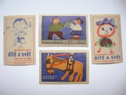 Czechoslovakia Series 4 Matchbox Label 1964 - Child And The World - International Exhibition In Prague - Boites D'allumettes - Etiquettes