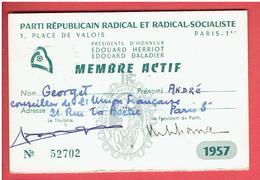 CARTE 1957 MEMBRE ACTIF DU PARTI REPUBLICAIN RADICAL ET RADICAL SOCIALISTE POUR ANDRE GEORGET - Organisations