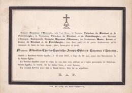 BERCHEM-SAINTE-AGATHE Sébastien HUYSMAN D'HONSSEM 69 Ans 1847 Carton A5 Faire-part De NIEULANT Et De POTTELSBERGHE - Obituary Notices