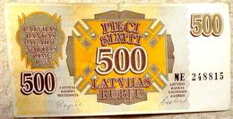LATVIA , LETTLAND  500 ROUBLE / RUBLE 1992 EX- RUSSIA CIRC BANKNOTE - ME - 15 - Latvia