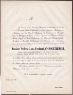 BLICQUY Frédéric Comte D'OULTREMONT 26 Ans 1863 Gènes. Officier D'ordonnance Duc De BRABANT De BORCHGRAVE D'ALTENA - Obituary Notices