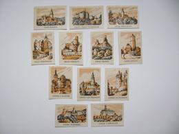 Czechoslovakia Series 12 Matchbox Label 1964 - Castles And Palaces - Bouzov, Pernstejn, Zvikov, Rozmberk.... - Boites D'allumettes - Etiquettes