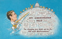 Political Humour Malfuzziness Ronald Reagan Anti-Administration Bills - Satirical