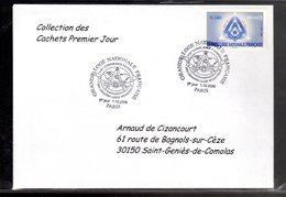 """"""" GRANDE LOGE NATIONALE DE FRANCE """" Sur Enveloppe 1er Jour De 2006 De La Collection """" CACHETS PREMIER JOUR """" N° YT 3993 - Freemasonry"""