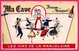BUVARD Illustré - Ma Cave Finesse BOUQUET - Les Vins De La Marjolaine - Folklore - Buvard EFGE - Autres