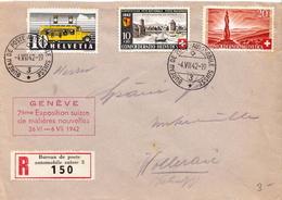 Postal History: Switzerland Registered Cover With Bureau De Poste Automobile Suisse 3 Cancel From 1942 - Switzerland