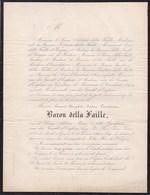 GAND HUYSSE  ZWIJNAARDE Edouard Baron Della FAILLE Veuf Van Der GRACHT D'EEGHEM 55 Ans 1866 De LOEN D'ENSCHEDE - Obituary Notices