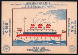 C0188 - MEZ AG Freiburg Breisgau - Werbekarte Werbung - Handarbeitsgarne Gran - Ausstickbild Dampfer Penig Stempel - Werbepostkarten