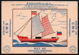 C0189 - MEZ AG Freiburg Breisgau - Werbekarte Werbung - Handarbeitsgarne Gran - Ausstickbild Penig Stempel - Werbepostkarten