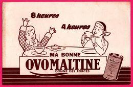 BUVARD Illustré - Ma Bonne OVOMALTINE Donne Des Forces - 2 Garçons à Table - Alimentare