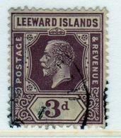 Leeward Islands 1921 Edward VII 3d Purple Yellow Single Definitive Stamp. - Leeward  Islands