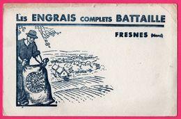 BUVARD Illustré - Les Engrais Complets BATTAILLE - Fresnes (59) - Sac - Fermier - Paysage - Agriculteur - Agriculture