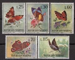 San Marino 1963 Bf. 650/654 Fiori E Farfalle Rose Margherite Viole Anemone Full Set MNH - Farfalle