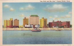Texas Corpus Christi Sea Wall And Skyline Curteich - Corpus Christi