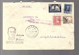 1938 Arriba Espana Saluda A Franco Censura Military ALARO > Sevilla GIL (5-45) - 1931-50 Lettres