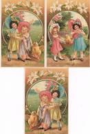 """Série De 6 Cartes ENFANTS - 2 Fillettes Présentant Un Poussin-Chapeaux-Robes-Campanules- """"Joyeuses Pâques """" - Collections, Lots & Series"""