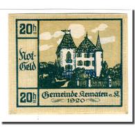 Billet, Autriche, Kematen An Der Krems, 20 Heller, Monument, 1920, SPL - Autriche