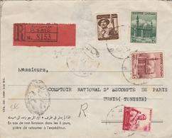 LSC Recommandé - PORT SAID - YT 315 & YT 319 & YT 321 & YT 368 - Au Dos Comptoir National D' Escompte De Paris - Égypte