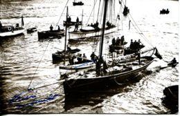 N°67479 -très Rare Carte Photo Dédicacée Par Alain Gerbault Au Havre - Sailing Vessels