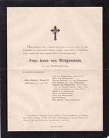 COLOGNE KOLN Frau Anna Von WITTGENSTEIN Née Von RECKLINGHAUSEN 48 Ans 1895 - Obituary Notices