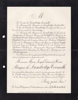 GERBEVILLER MEURTHE-et-MOSELLE Marie Joseph De LAMBERTYE-TORNIELLE 71 Ans 1907 Lettre Mortuaire De GALLIFET - Obituary Notices