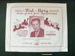 Flyer Wal-Berg Et Son Grand Jazz Symphonique Columbia La Voix De Son Maître - Objets Dérivés