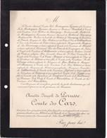 Paris Rue De Grenelle Amédée De PERUSSE Comte Des CARS 79 Ans 1899 Famille De MONTESQUIOU FEZENSAC - Obituary Notices