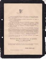 TOULOUSE Paul De LACOSTE Baron De BELCASTEL 74 Ans 1892 Famille De LAGOTELLERIE D'ARGENSON - Obituary Notices