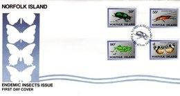 NORFOLK ISLAND, FDC, Endemic Insects  /  Île De NORFOLK, Lettre De Première Jour; Insects Endémiques   1989 - Insectes