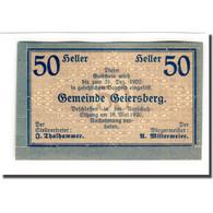 Billet, Autriche, Geiersberg, 50 Heller, Valeur Faciale, 1920, 1920-05-16, SPL - Autriche
