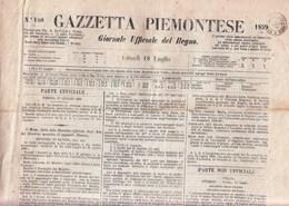 S1005 - 18 Luglio 1859 - GAZZETTA PIEMONTESE - Con Bollo Doppio Cerchio Nero In Partenza Da Torino Leggi... - Sardaigne