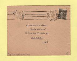 Krag - Paris Gare D Austerlitz - 4 Lignes Droites Inegales + Bloc Dateur 4 Lignes - 27 Juin 1926 - Marcophilie (Lettres)